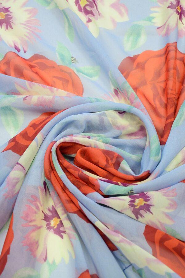 Шифон шелк голубой с красными цветами 3