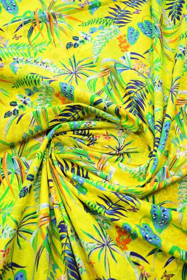 Хлопок стрейч двухсторонний желтый с цветами 2