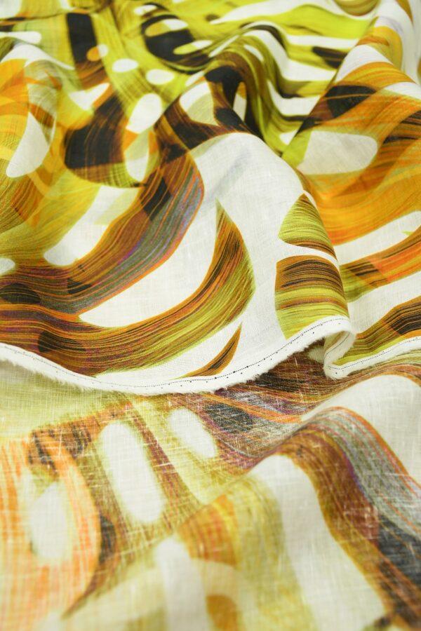 Лен белый с крупными пальмовыми листьями 4