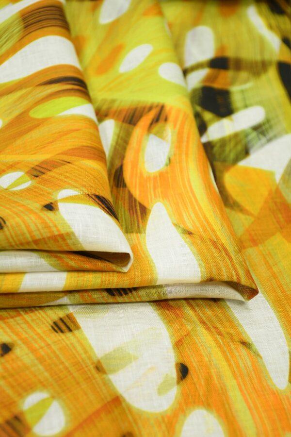 Лен белый с крупными пальмовыми листьями 3