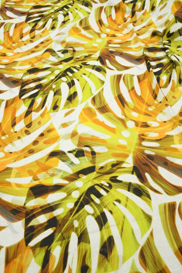 Лен белый с крупными пальмовыми листьями 5