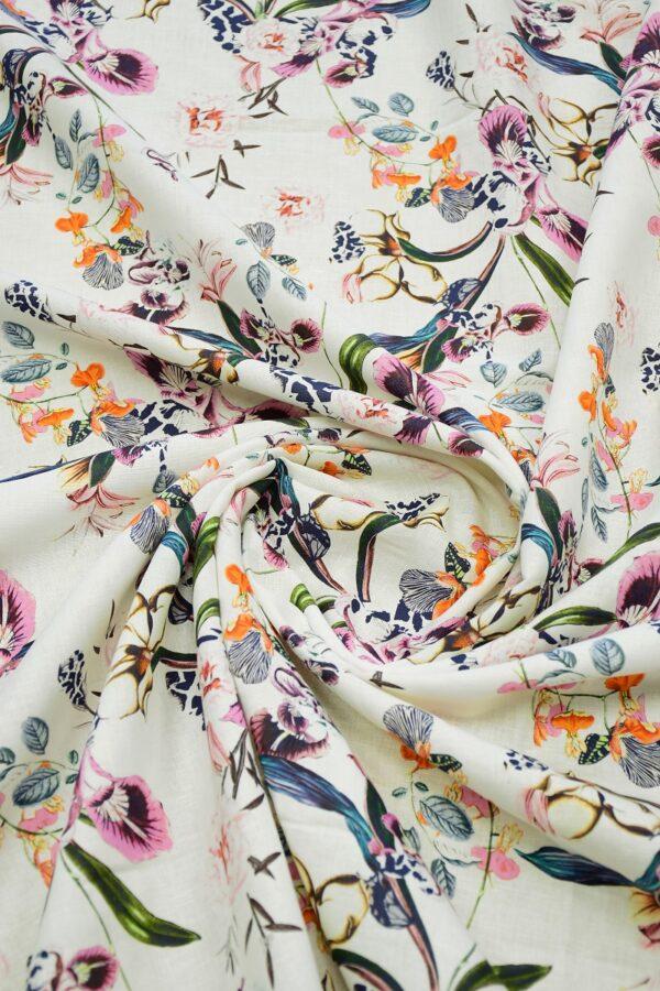 Лен белый с цветами 2