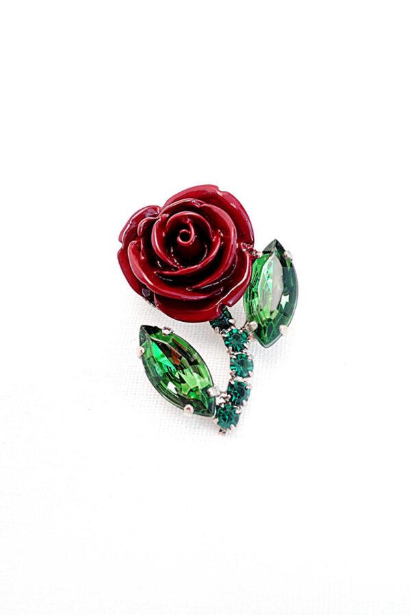 Брошь красная роза металл эмаль кристаллы