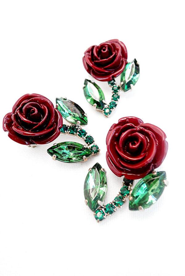 Брошь красная роза металл эмаль кристаллы 2