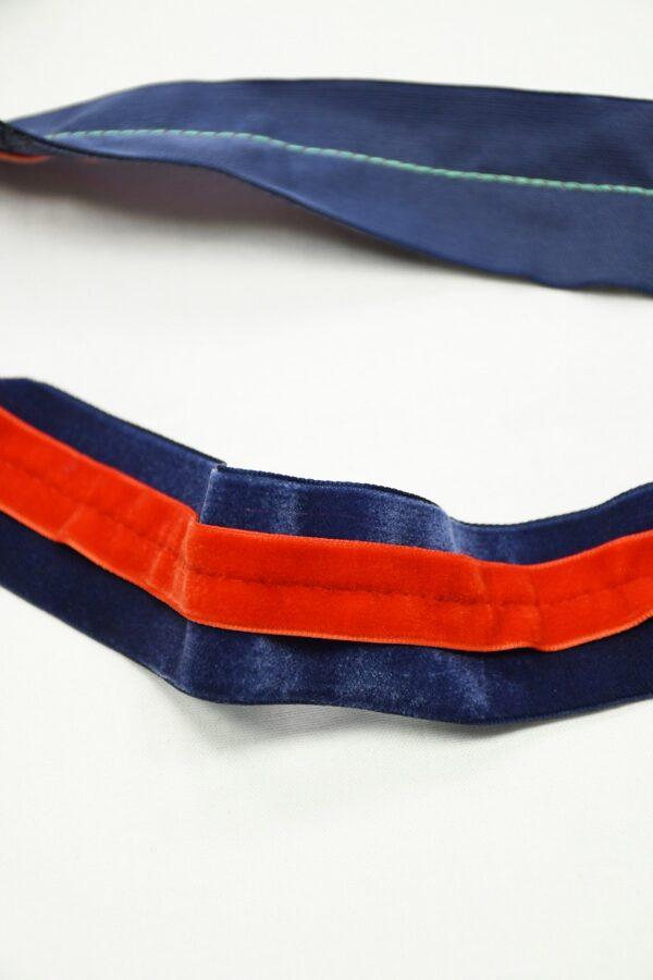 Лампас бархатный синий с красной полоской 2