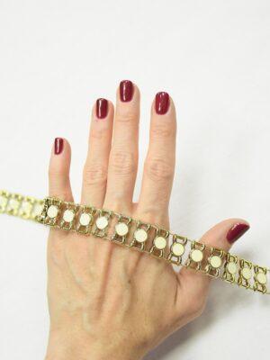 Тесьма золотая эмалированные камни в золотой оправе 1