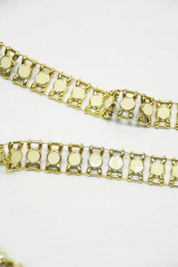 Тесьма золотая эмалированные камни в золотой оправе 3
