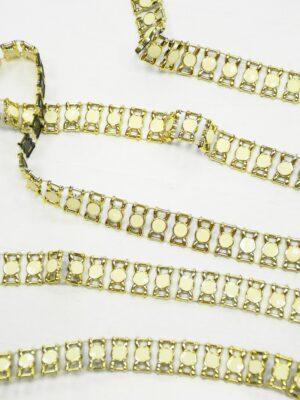 Тесьма золотая эмалированные камни в золотой оправе