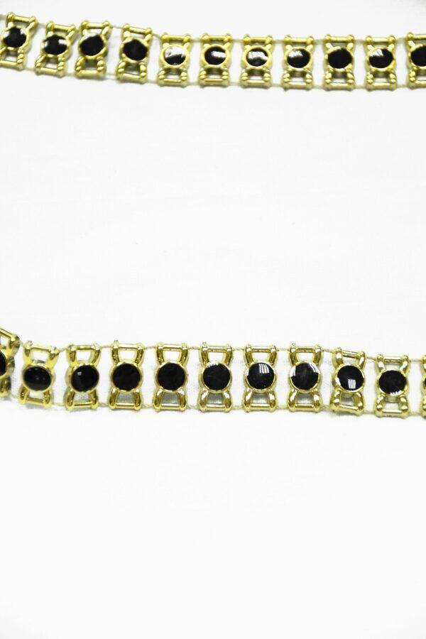 Тесьма с черными эмалированными камнями в золотой оправе 4