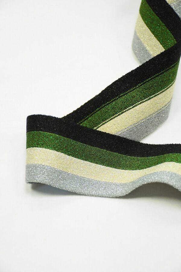 Подвяз в черную зеленую серебристую полоску 2