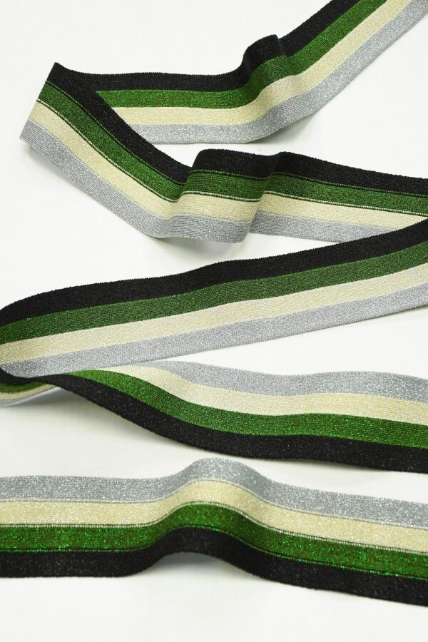Подвяз в черную зеленую серебристую полоску