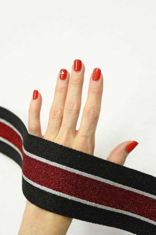 Подвяз черный с красной и серебристой полоской 1