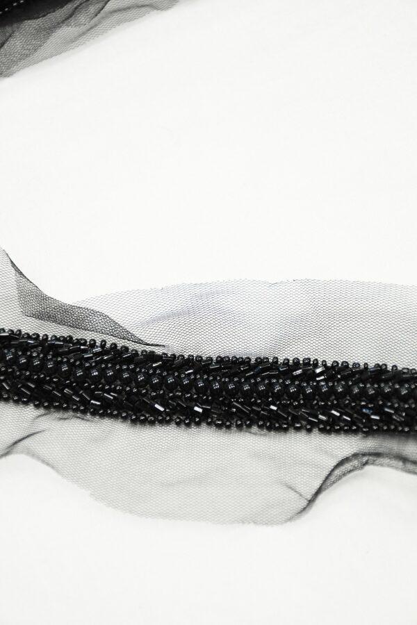 Тесьма с черным бисером и стеклярусом на сетке 4