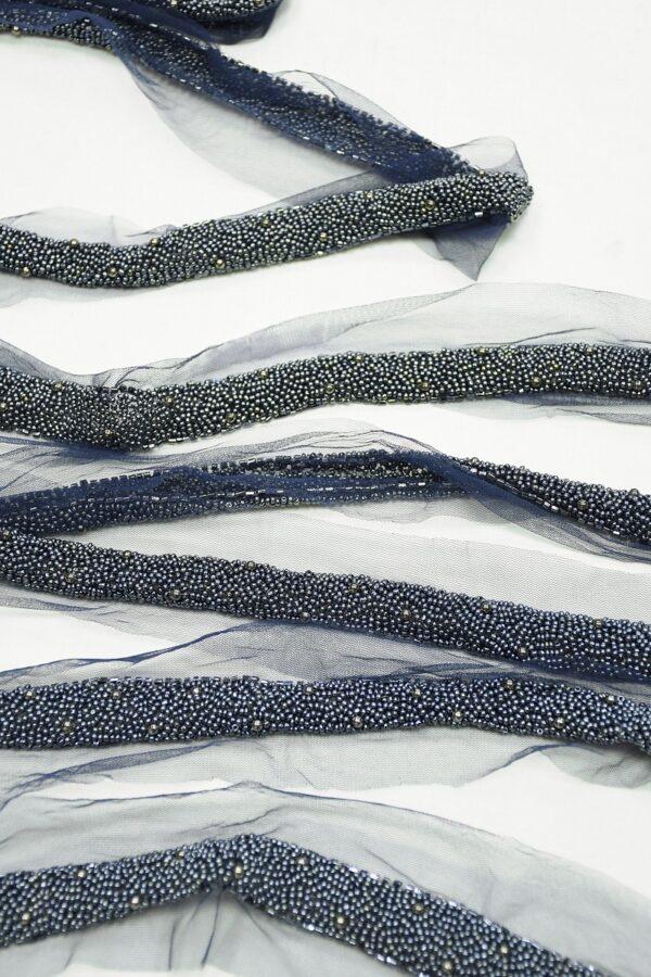 Тесьма с вышивкой синим бисером и стеклярусом