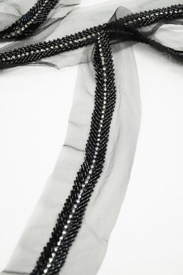 Тесьма черная со стеклярусом и блестящими стразами 3