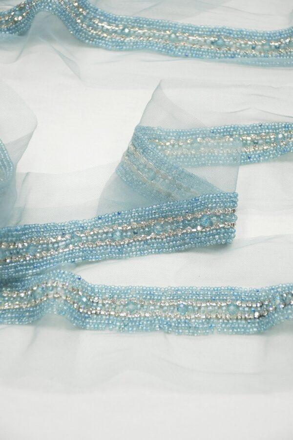 Тесьма с вышивкой на сетке бисером и стразами 3