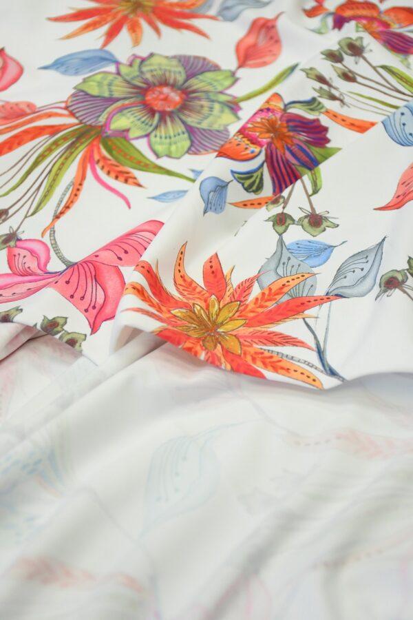 Бифлекс белый с коралловыми и розовыми цветами 3