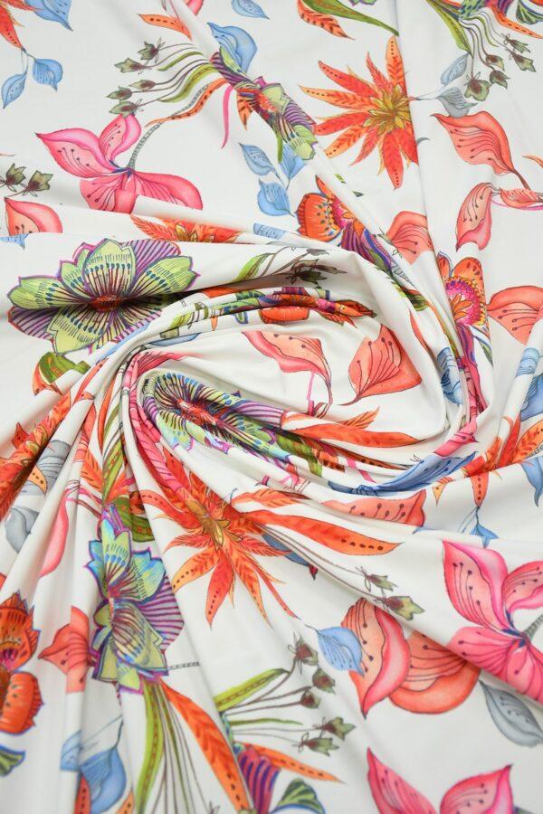 Бифлекс белый с коралловыми и розовыми цветами 2