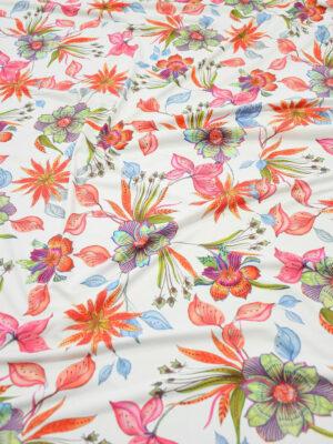 Бифлекс белый с коралловыми и розовыми цветами