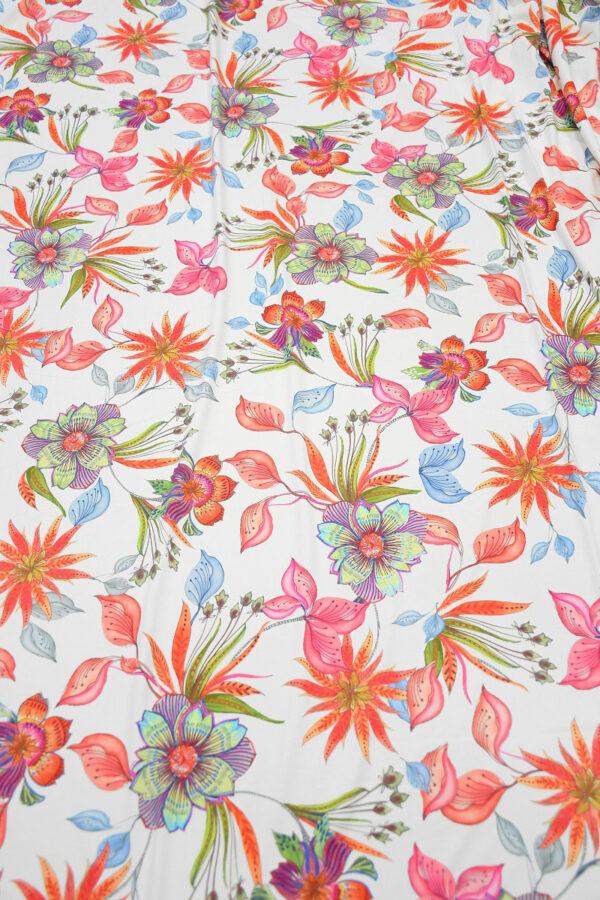 Бифлекс белый с коралловыми и розовыми цветами 5