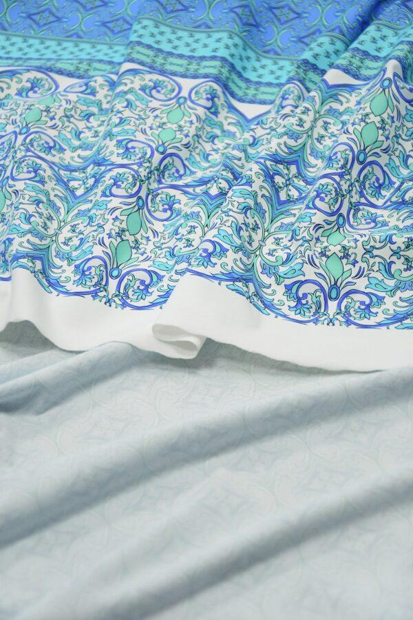 Бифлекс голубой с мелким орнаментом и каймой 3