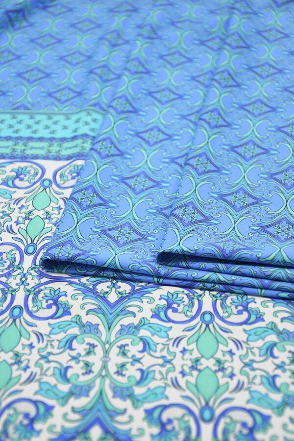 Бифлекс голубой с мелким орнаментом и каймой 4