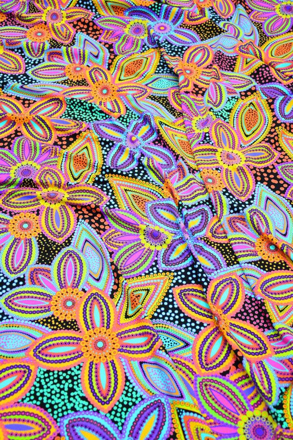 Бифлекс синий с цветами и узором пейсли