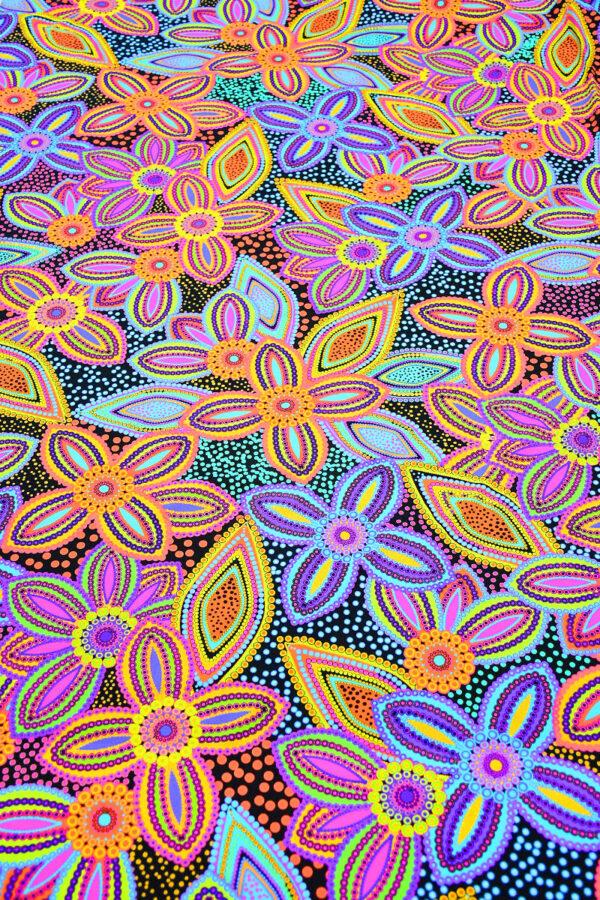 Бифлекс синий с цветами и узором пейсли 4