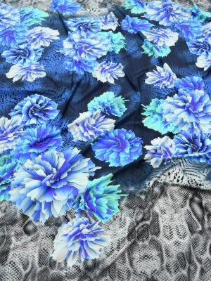 Бифлекс с синими пионами и змеиным принтом