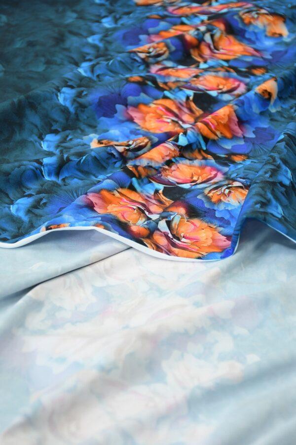 Бифлекс темно-синий купон с цветочной каймой 4