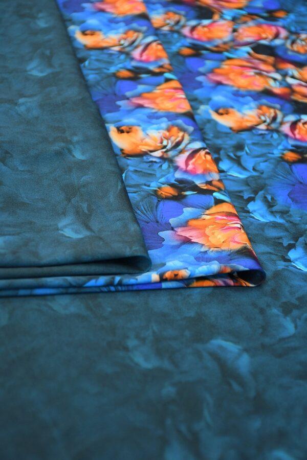 Бифлекс темно-синий купон с цветочной каймой 3