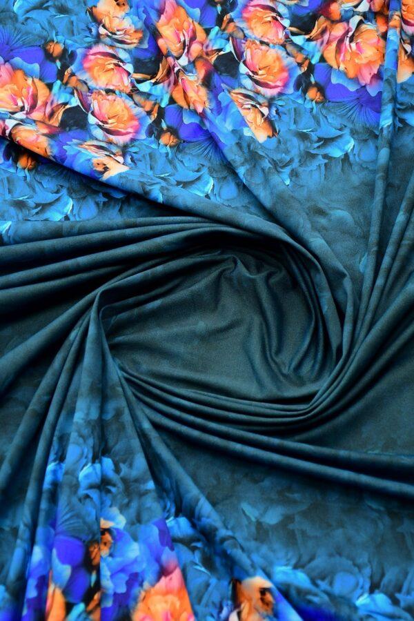 Бифлекс темно-синий купон с цветочной каймой 2
