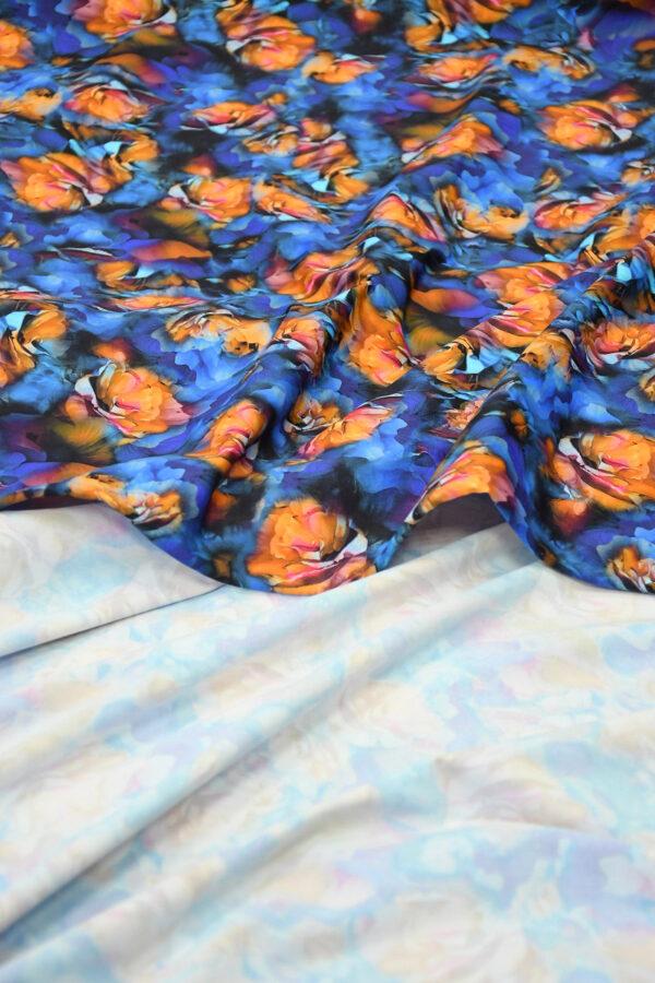 Бифлекс синий с оранжевыми цветами 4