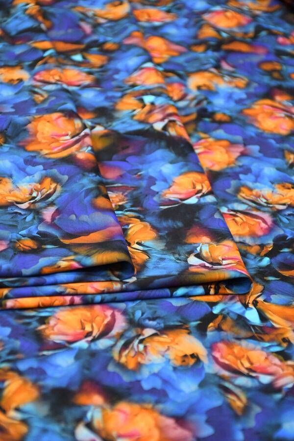 Бифлекс синий с оранжевыми цветами 3