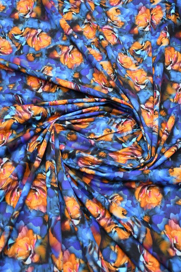 Бифлекс синий с оранжевыми цветами 2