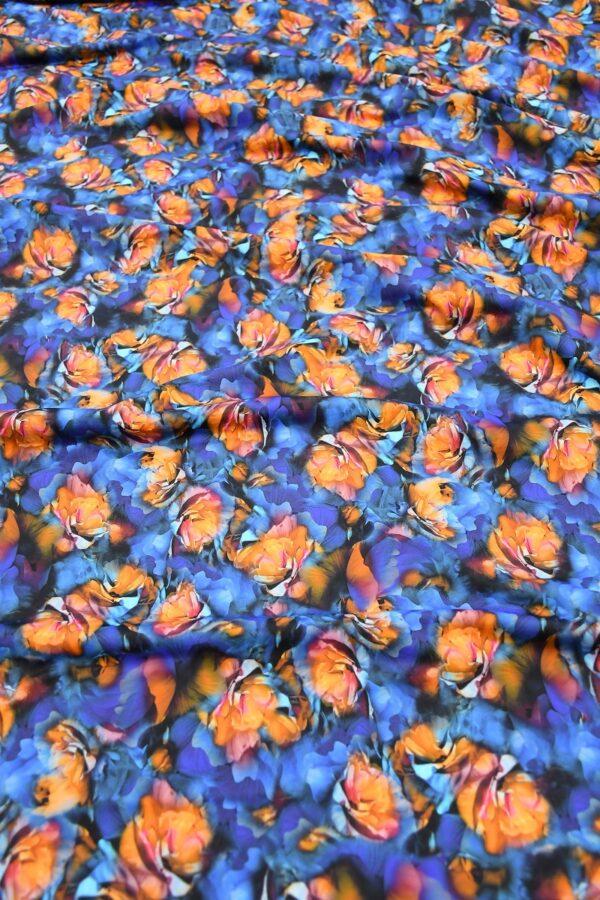 Бифлекс синий с оранжевыми цветами
