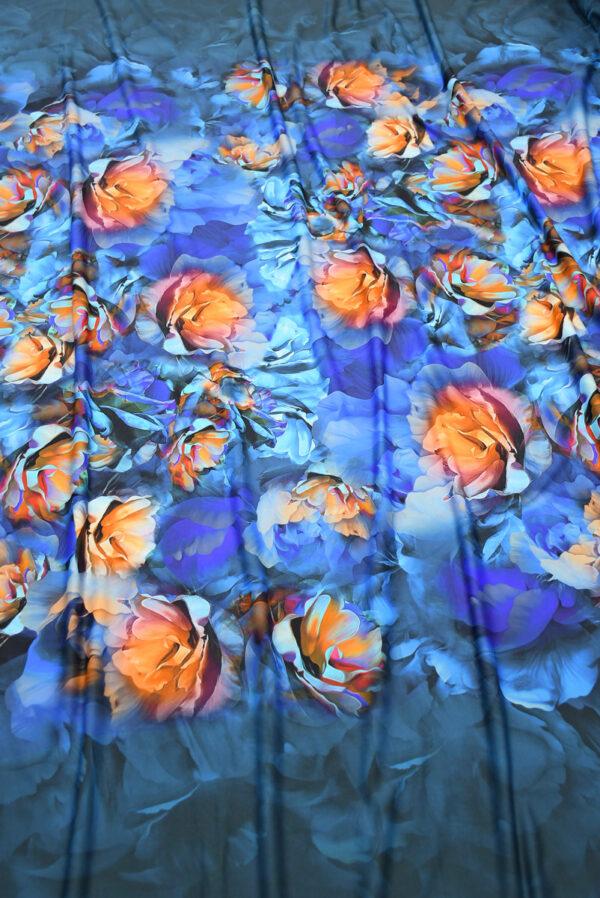 Бифлекс синий с оранжевыми пионами