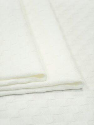 Джерси молочно-белый в фактурную клетку 1