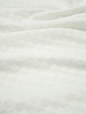 Джерси молочно-белый в фактурную клетку