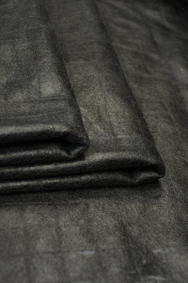 Дубленка черная с эффектом кракелюра и стриженым мехом 3