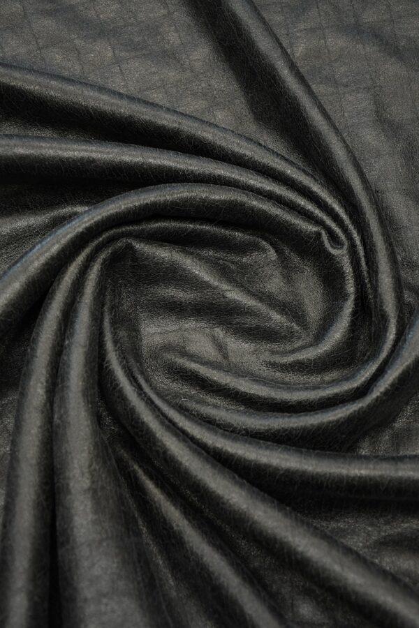 Дубленка черная с эффектом кракелюра и стриженым мехом 2