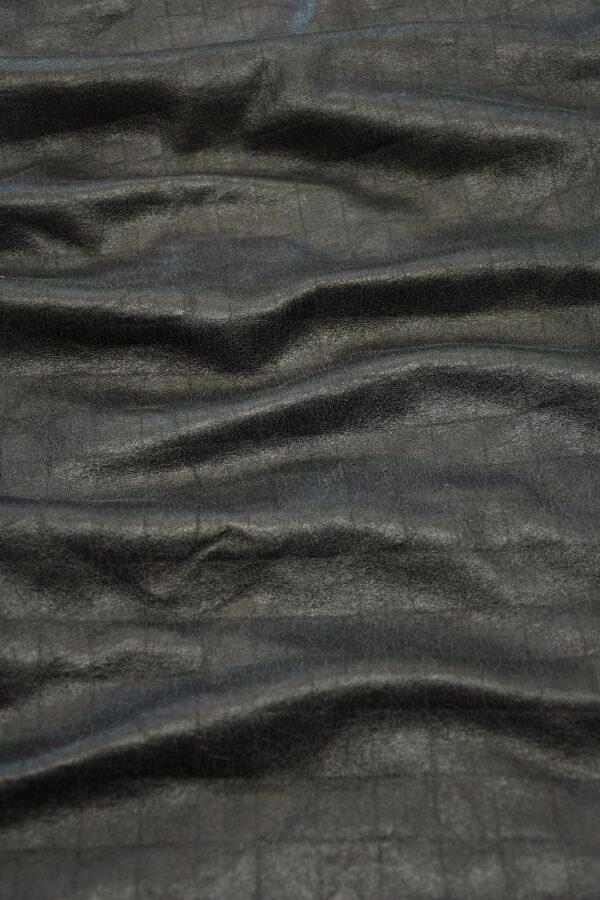 Дубленка черная с эффектом кракелюра и стриженым мехом 6