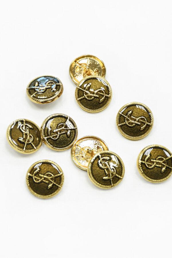Пуговица металл золото с бронзовой эмалью буквами и змейкой 2