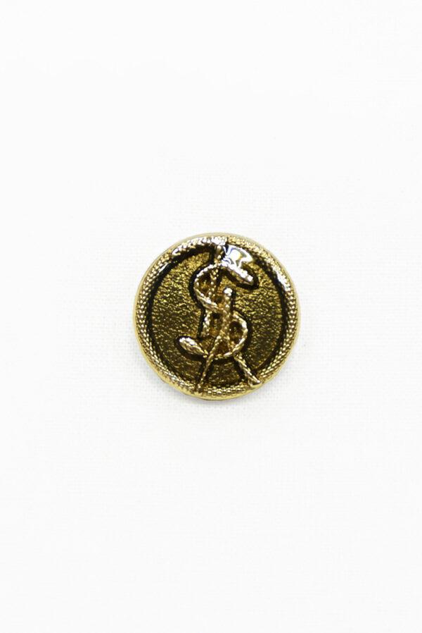 Пуговица металл золото с бронзовой эмалью буквами и змейкой