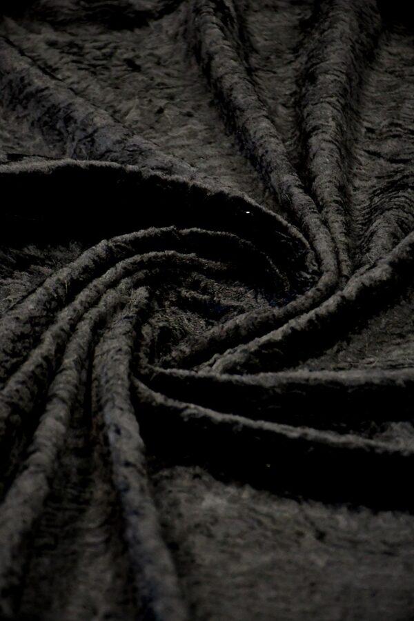 Мех искусственный каракуль черный (10572) - Фото 7