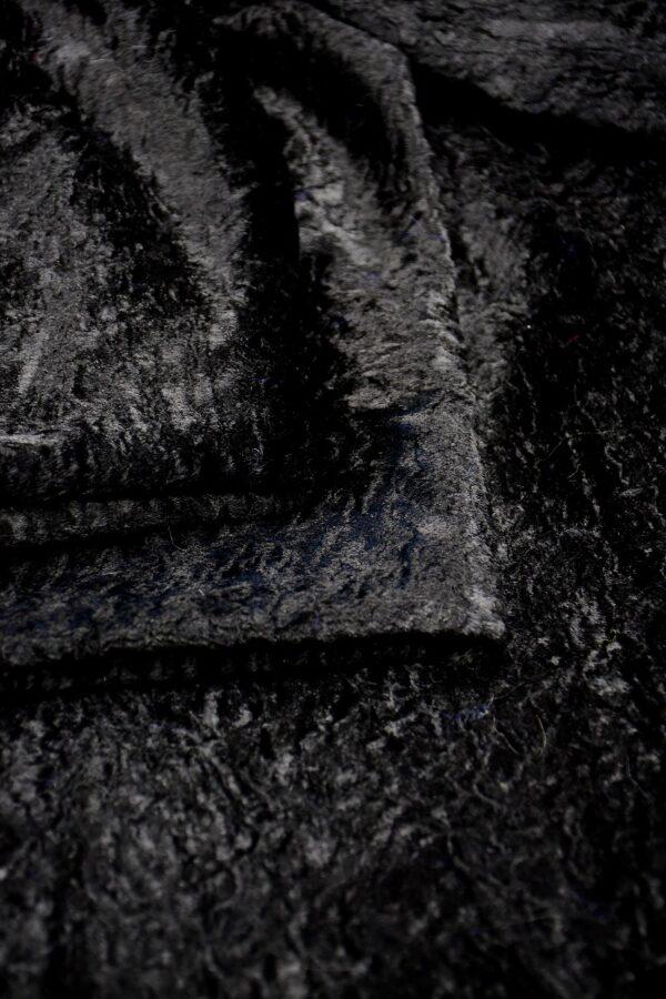 Мех искусственный каракуль черный (10572) - Фото 8