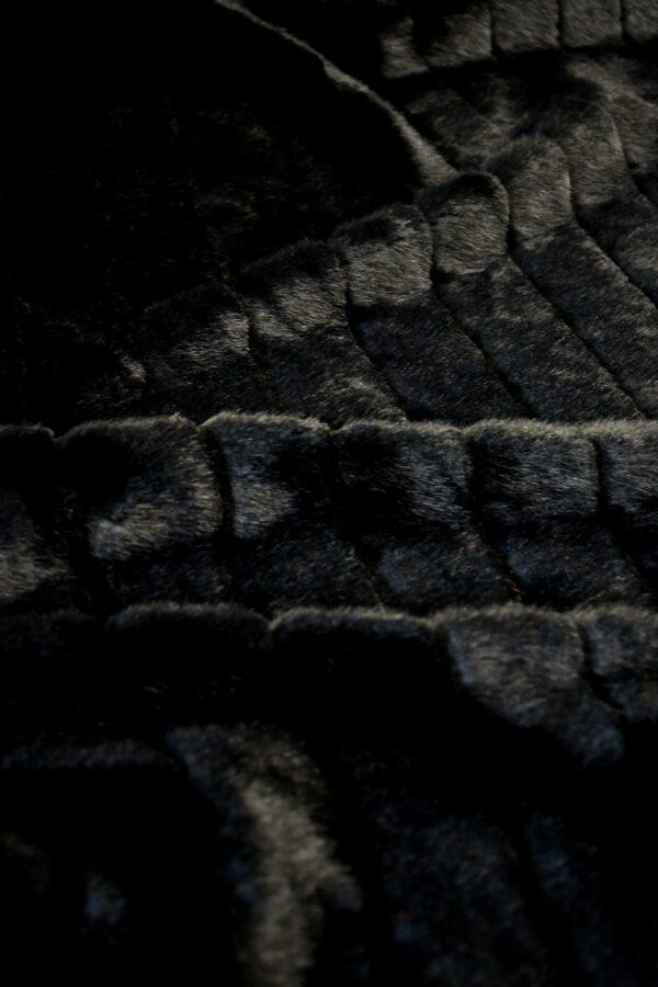 Мех искусственный норка черный в полоску (10583) - Фото 9