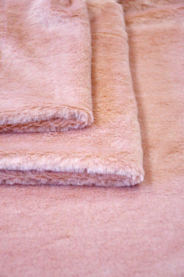 Мех искусственный на трикотаже розовый (10585) - Фото 8