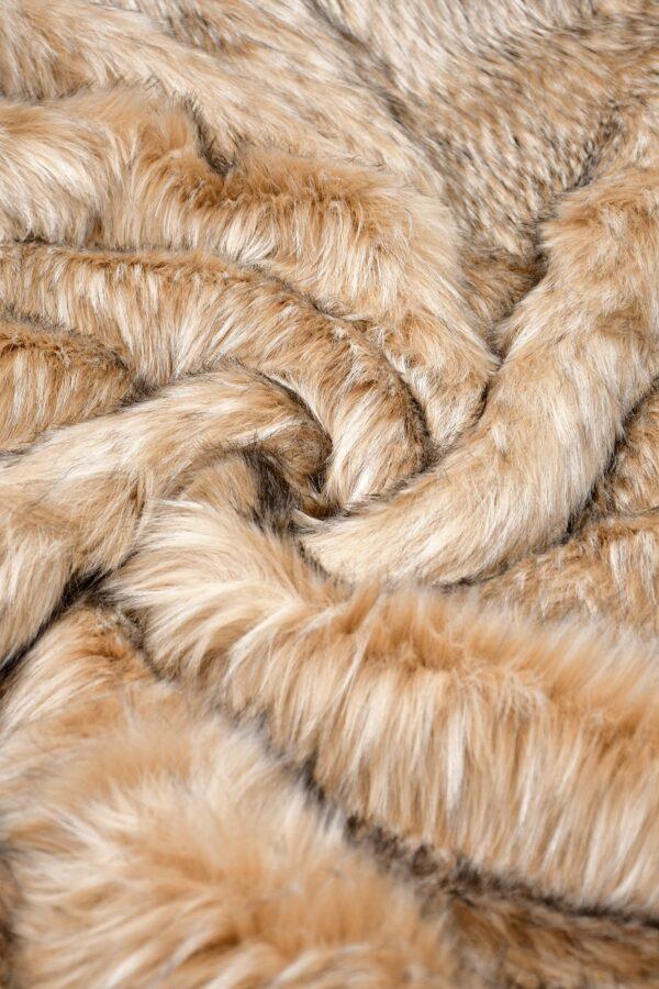 Мех искусственный енот оранжевый палевый (10587) - Фото 7