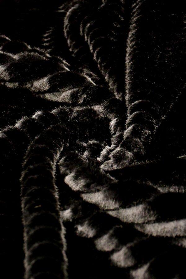 Мех искусственный норка стриженный черный полоска (10588) - Фото 7